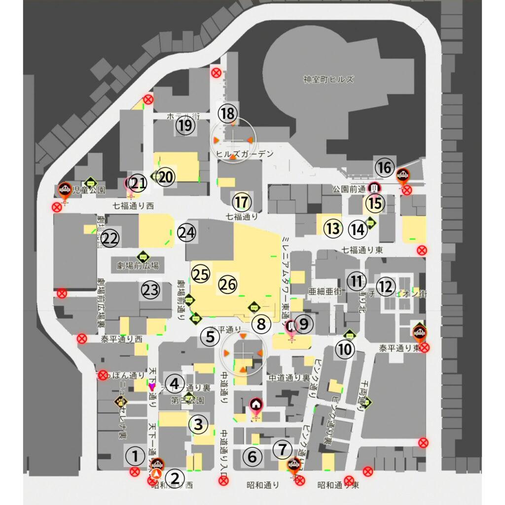 神室町のリスの絵一覧(全体図)